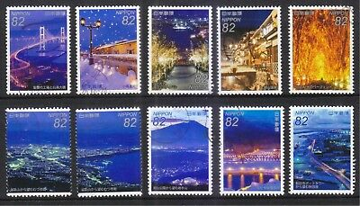 JAPAN 2015 JAPANESE NIGHT VIEW SERIES NO. 1 COMP. SET OF 10 STAMPS IN FINE USED ()