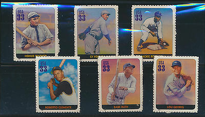 Legends of Baseball 6 Different Mint USA Stamps Ruth Clemente Robinson Gehrig +