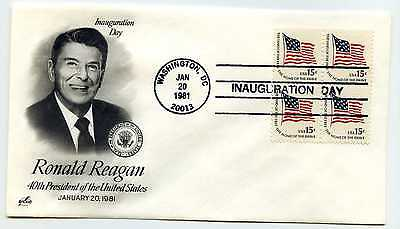1981 Reagan Artcraft #1, block of 4, Inauguration Day Washington DC  Cover