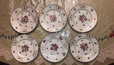 Vintage Epiag Czechoslovakia BRIDAL ROSE WHITE Salad Plates Set of 6  EUC Bridal Rose Salad Plate