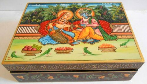Box Jewelry Krishna Procession Painting Wood Work Artistic Collection Of Art