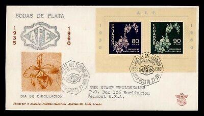 DR WHO 1960 ECUADOR FDC AFE FLOWER CACHET S/S  g23987