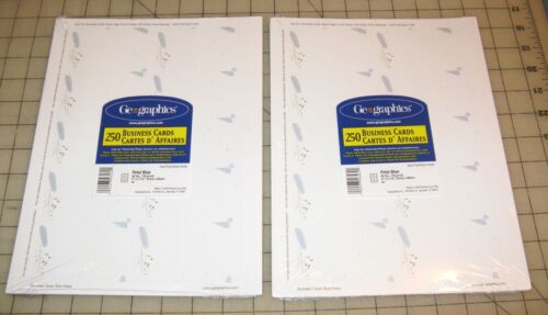 2 Geographics PETAL BLUE 250-Ct BUSINESS CARDS Packs - NEW