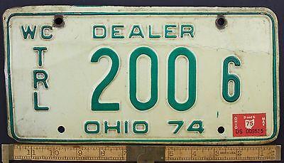1974 Vintage Original OHIO License Plate 200 6 WATERCRAFT TRAILER DEALER
