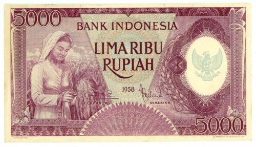 Indonesia  ... P-64 ... 5000 Rupiah ... 1958 ... (~): *AU*