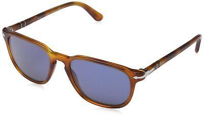 Persol Men's 0PO3019S 96/56 55 Square Sunglasses,Light Havana Frame/Blue (Persol Men's 0po3019s Square Sunglasses)