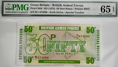 BRITISH MILITARY/ARMED FORCES 50p NOTE VOUCHER PMG 65 Gem Uncirculated 1972