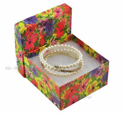 Lot Of 100 Floral Cotton Filled Box Jewelry Box Bangle Box Large 3 34x2h Box