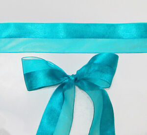 5m x Turquoise/Cyan Satin and Organza wide Ribbon 40mm wide
