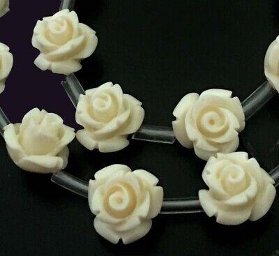 10mm Ivory / White Cream Shell Rose Flower Beads -