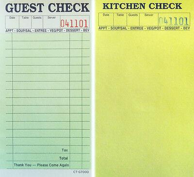 1 Pack Of 10-2-Part Guest Check Carbonless Kitchen Restaurant Receipt Sale Order