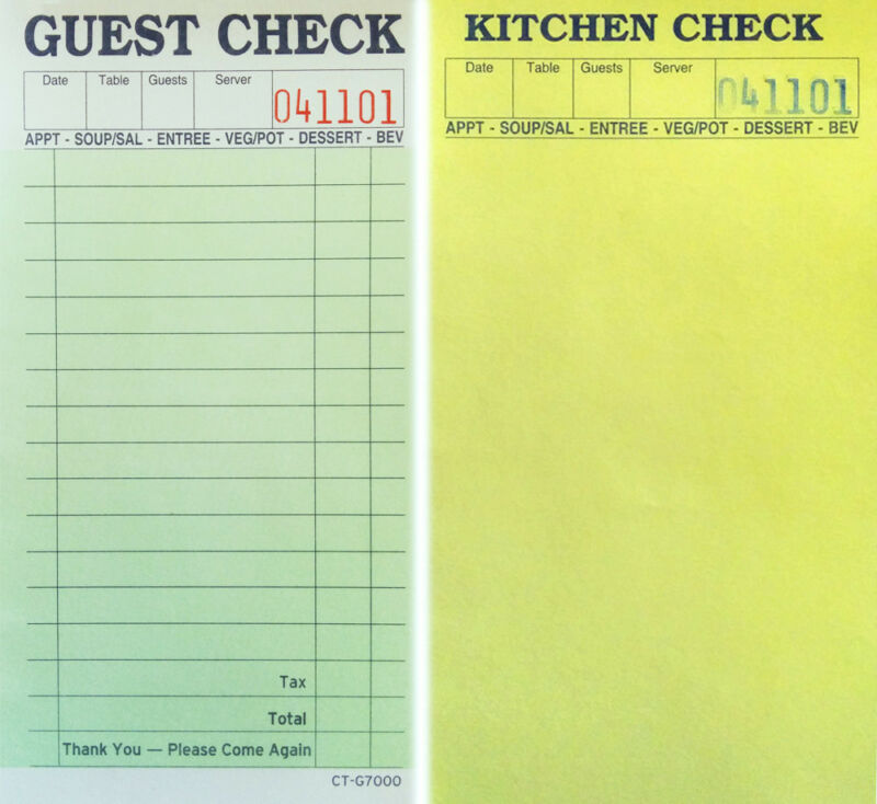 Carbonless Guest Kitchen Check Restaurant Books - 10 Total Books / 500 Receipts