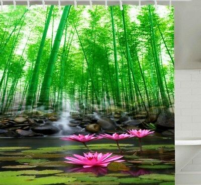 - Bamboo Pink Lotus Shower Curtain Polyester Waterproof & Rings Fast Shipping