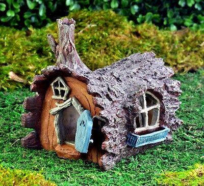 Hobbit House - Miniature Fairy Garden Log Home DOOR OPENS Gnome Hobbit House Cottage GO 16433