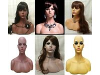 Mannequin Half Bust Head and Shoulders Fiberglass Display Model in 3 Colours