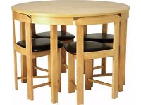 Circular Dining Table and 4 Chairs - Oak. 3 months old from new at ARGOS. Looks like NEW