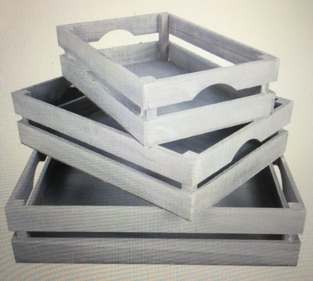 6 White Grey Shallow Nestable Wooden Crates For Shop Display Shelf Storage Boxes Or Gift Hampers In Kingston London Gumtree