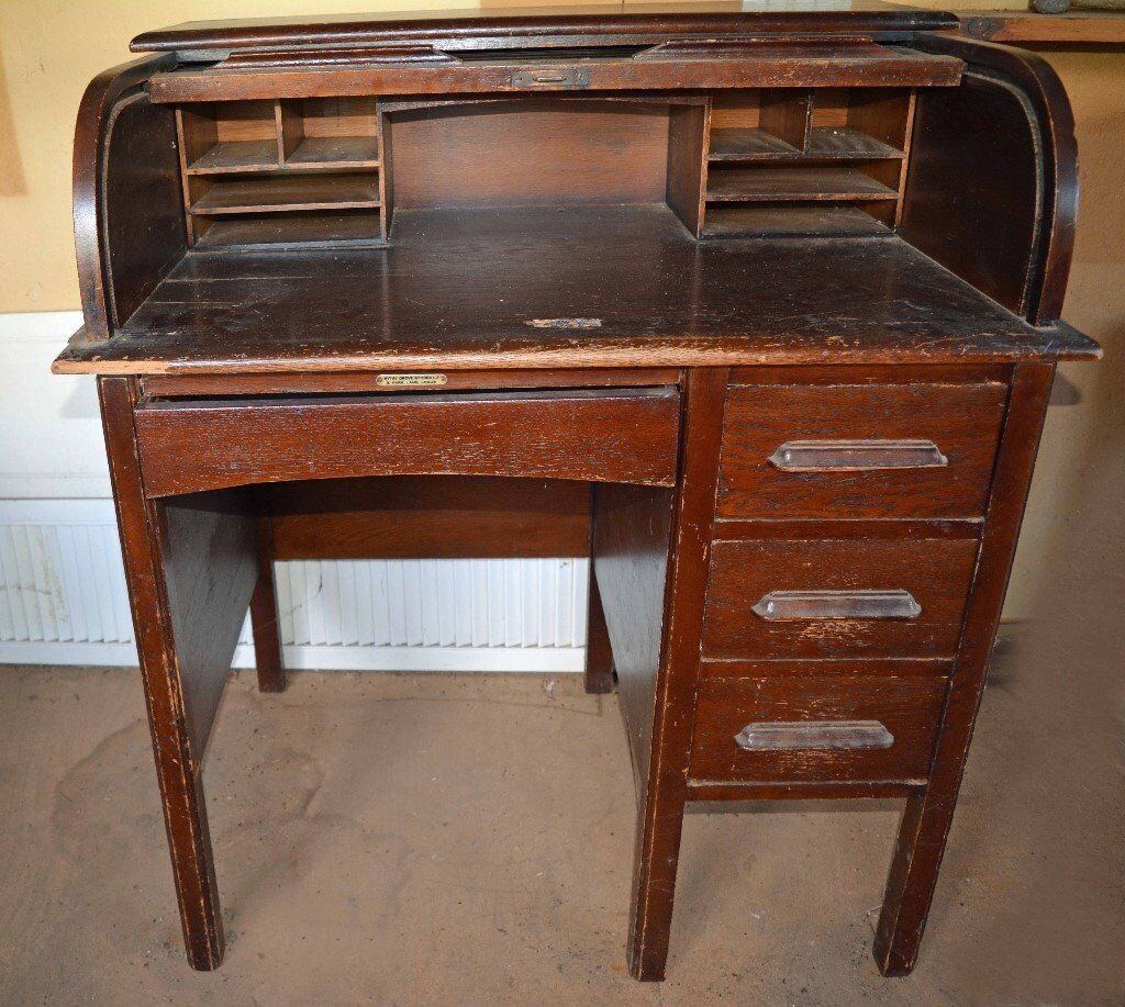 A Vintage Solid Um Oak Roll Top Desk By Withy Grove Of Leeds