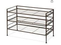 9 pair metal shoe rack 3 tier
