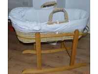 Moses Basket with a Rocking Stand- Great Condition- MUST GO URGENTLY