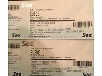2 SUEDE SOLD OUT GIG TICKETS IN LONDON 12TH OCTOBER