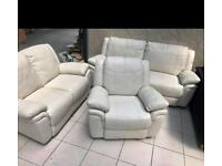 EX DISPLAY 3 2 1 WHITE GENUINE LEATHER SOFA SET | MANUAL RECLINER |TOP QUALITY |6 SEATER| WE DELIVER