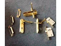 2 PAIRS (4)CARLISLE SOLID BRASS POLISHED BRASS DOOR HANDLES +2 BRASS EASI T LEVER MORTICE LOCKS
