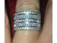 Crystal and silver ring size m/n