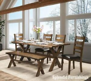 Weekend Promotion! Oak finish, Solid live Edge Wood 6 Pc Dining Set Sale