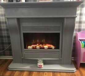 Modern grey fully working fire and surround