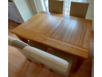 Solid Oak Extendable Dining Table & 4 Leather Chairs