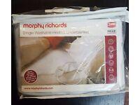 Morphy Richards Heated Blanket - White - Single Brand New £15