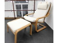 Ikea POANG Chair & Footstool, Excellent Condition