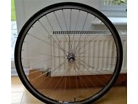 Shimano road bike front wheel 700c, includes QR, ineer tube, rim tape and tyre.