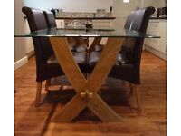 Oak Furniture Land Solid Rustic Oak/Glass Dining Table & 6 Leather Chairs Less Than 1 Year Old