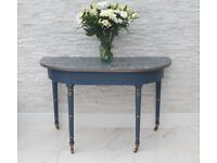 Vintage half moon table with gold detailing