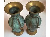vintage brass oxidized vases