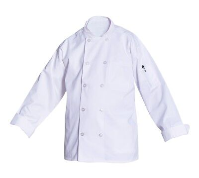 10 Button Long Sleeve Unisex Chef Coat Jacket Xl White New All Star Uniforms