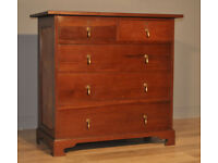 Attractive Vintage Pine Chest Of Five 5 Drawers, Two Over Three