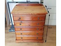 Solid Wood Chest of Drawers H90cm - Sturdy Build