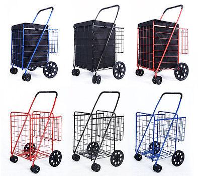 DLUX Folding Shopping Jumbo Size Cart Double Basket w/Swivel Wheels(Large,D862S)