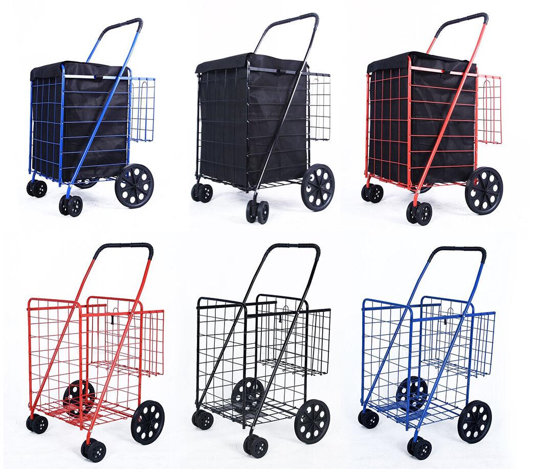 DLUX Folding Shopping Cart D862S Double Basket Swivel Wheels