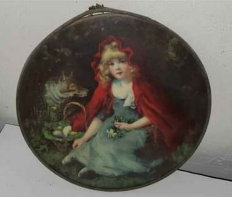 """Antique Flue Cover - LITTLE RED RIDING HOOD & WOLF Print, Victorian, 9-3/8"""""""