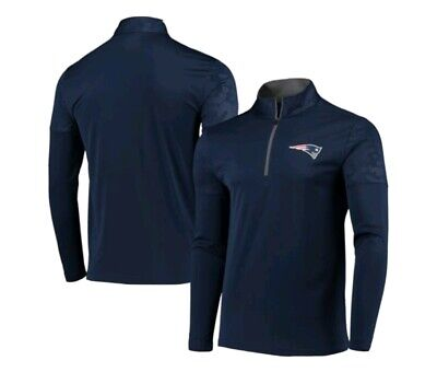 New NFL New England Patriots USA Football  Mock Neck 1/2 Zip  LS tee Large