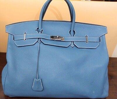 Hermes Birkin Traveling Bag Limited Edition Blue Jean