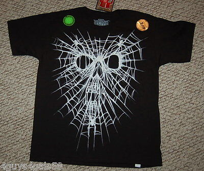 BOYS Tee Shirt T SKULL Spider Web GLOW IN DARK Black White XL 14-16 - Dark Black Teens