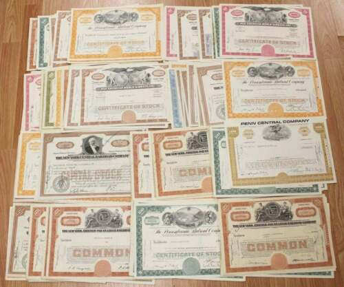MIXED Vintage LARGE  RAILROAD STOCK Certificates-Your Choice OF 1 -FREE SHIPPING