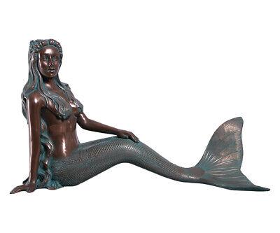 Mermaid Statue Nerissa by the Sea Large Sitting Siren Figure Verde Bronze