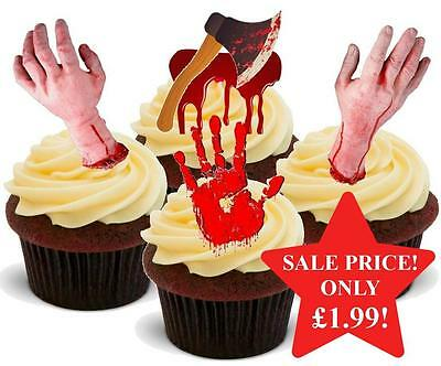 Bloody Halloween Cakes (12 NOVELTY HALLOWEEN STAND UPS Bloody Horror Hand Axe Mix Edible Cake)