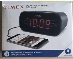 TIMEX AM/FM DUAL ALARM CLOCK RADIO T231GRY
